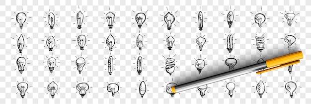 Insieme di doodle di lampadine. raccolta di modelli di modelli di schizzi a matita disegnati a mano di dispositivi di illuminazione di lampade su sfondo trasparente. illustrazione di idea e simboli di pensiero creativo.