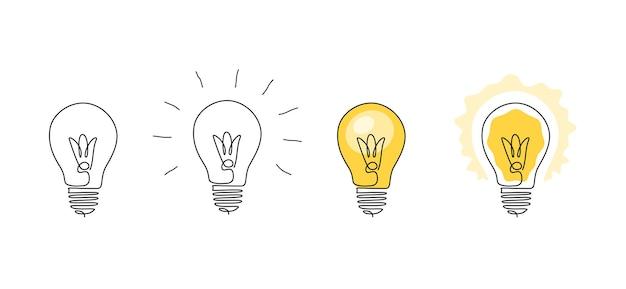 Lampadine di una linea continua disegno cartone animato piatto e contorno lampade brillanti concetto di creatività