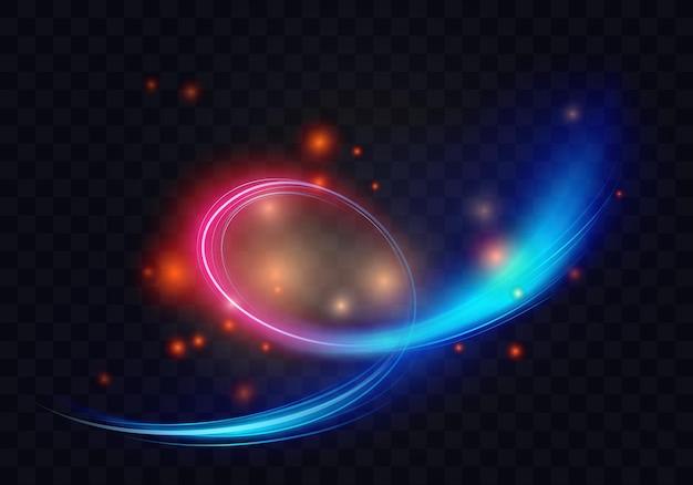 Cerchio di luce vortice forme a spirale linee di energia astratta effetto lucente anelli al neon brillano