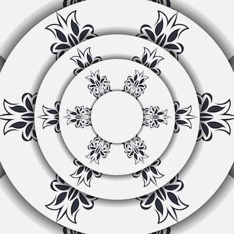 Carta di colore chiaro con ornamento astratto. design della carta di invito con motivi mandala.
