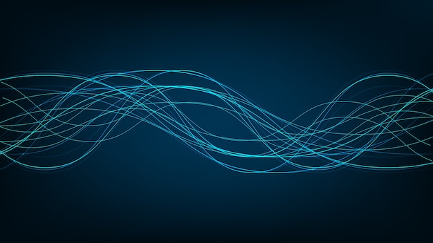 Onda sonora digitale leggera su sfondo tecnologico, concetto fluente, design per studio musicale e scienza