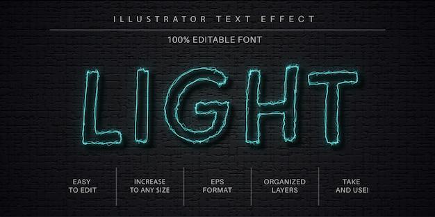 Effetto di testo modificabile chiaro, stile del carattere