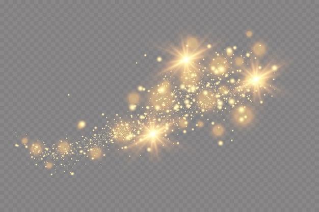 Effetto luce. sfondo di particelle scintillanti. elementi scintillanti su uno sfondo trasparente.