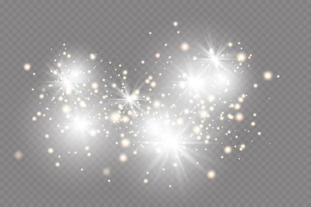 Effetto luce. sfondo di particelle scintillanti. elementi scintillanti