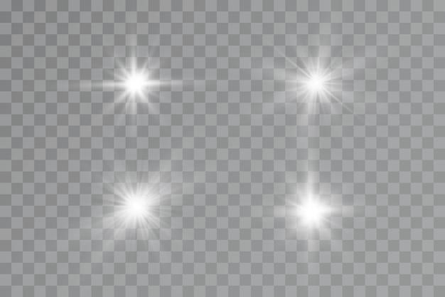 Effetto luce bright star light esplode su uno sfondo trasparente sole luminoso