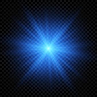 Effetto luce dei riflessi dell'obiettivo. luci incandescenti blu effetti starburst con scintillii su uno sfondo trasparente. illustrazione vettoriale