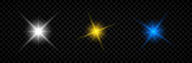 Effetto luce dei riflessi dell'obiettivo. set di tre effetti starburst di luci incandescenti bianche, gialle e blu con scintillii su uno sfondo trasparente. illustrazione vettoriale