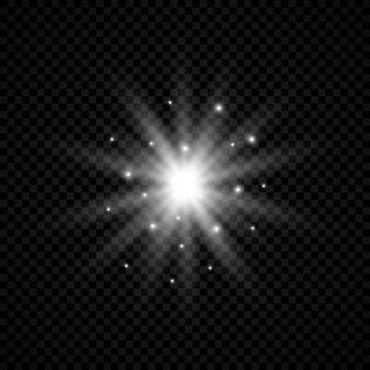 Effetto luce dei riflessi dell'obiettivo. luci bianche incandescenti effetti starburst con scintillii su uno sfondo trasparente. illustrazione vettoriale