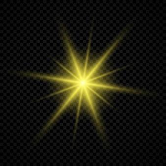 Effetto luce dei riflessi dell'obiettivo. luci incandescenti gialle effetti starburst con scintillii su uno sfondo trasparente. illustrazione vettoriale