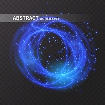Cerchio di linea effetto luce. traccia di anello di fuoco di luce incandescente. glitter magic sparkle swirl trail effetto su sfondo trasparente. linea d'onda tonda glitterata