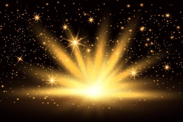 Effetto luce, splendente luce dorata brillante.