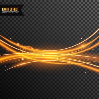 Vettore di effetti di luce trasparente con scintillii dorati