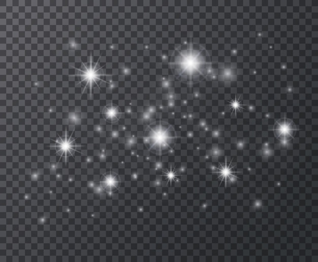 Effetto luce. scintille bianche e stelle scintillanti, bagliori scintillanti.