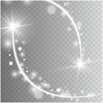 Le stelle effetto bagliore di luce esplodono con scintillii isolati su sfondo trasparente.