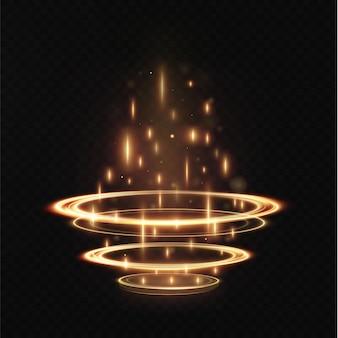 Il podio in oro chiaro è vuoto con gli effetti dell'evidenziazione della linea. piedistallo podio illuminato illumina