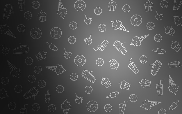 Modello vettoriale grigio chiaro con snack dolci