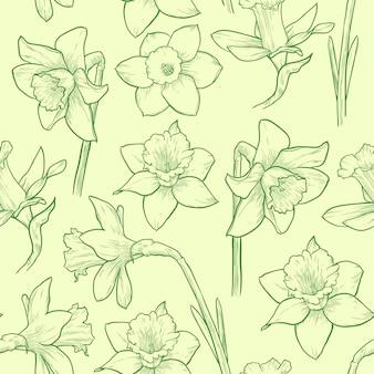 Modello senza cuciture floreale verde chiaro illustrazione vettoriale di narcisi disegnati a mano