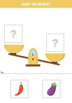Leggero, pesante o uguale. ritaglia le immagini sottostanti e incollale sulla scatola giusta.