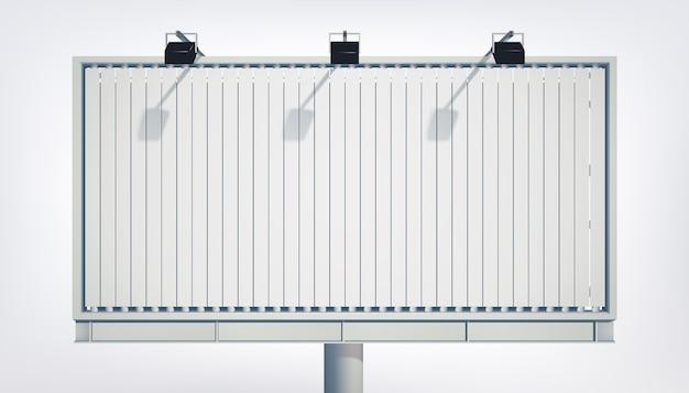 Tabellone per le affissioni orizzontale chiaro con tela bianca e proiettori isolati