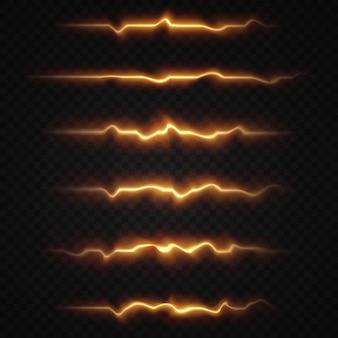 Pacchetto di razzi luminosi orizzontali leggeri. il laser emette raggi di luce orizzontali