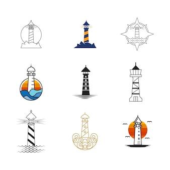 Light house logo template icona illustrazione vettoriale