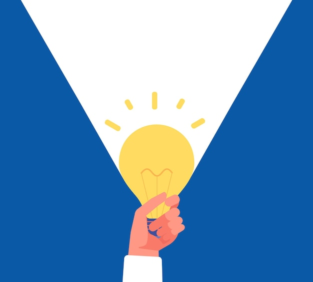 Luce di idea. mano che tiene la lampadina su blu e bianco