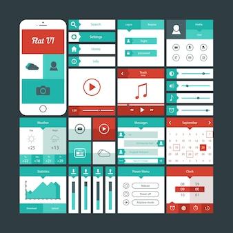 Elementi dell'interfaccia utente piatti mobili leggeri
