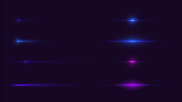 Effetto bagliore della velocità del movimento leggero nel set di raccolta vettoriale sfondo scuro