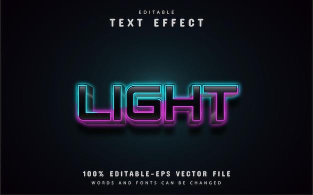 Effetto di testo in stile neon leggero Vettore Premium