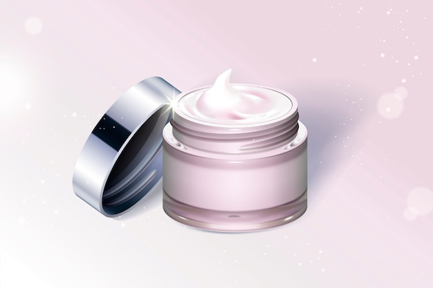 Contenitore barattolo crema rosa chiaro isolato su sfondo scintillante