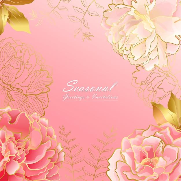 Biglietto quadrato con fiori di peonia rosa chiaro