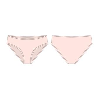 Mutande rosa-chiaro per le ragazze isolate. schizzo tecnico di lingerie donna.