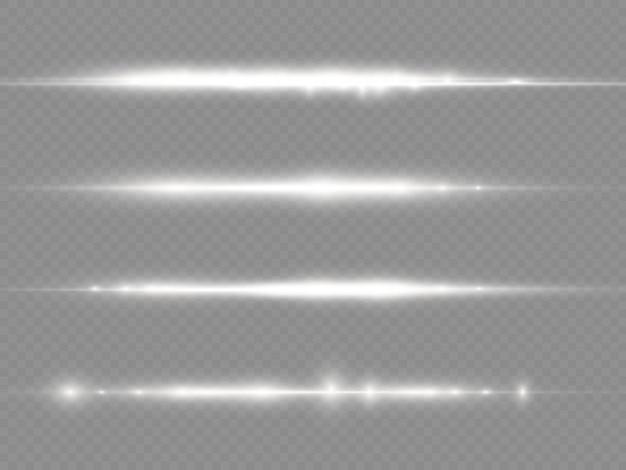 I raggi di luce lampeggiano razzi di lenti orizzontali bianche pack raggi laser bagliore linea bianca bellissimo bagliore