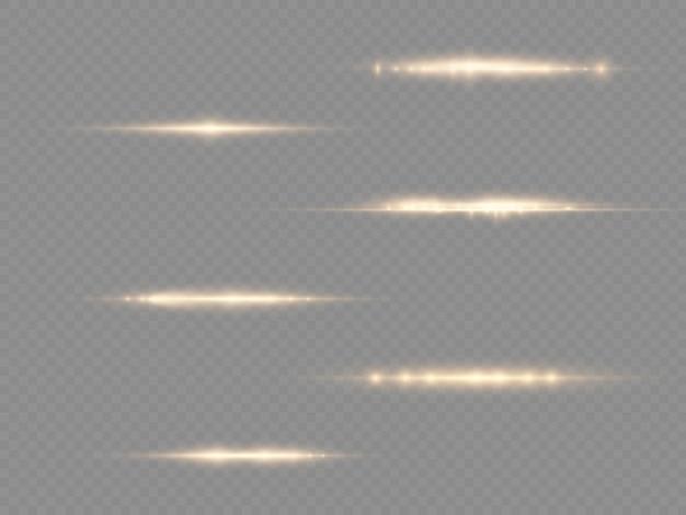 I raggi di luce lampeggiano razzi di lenti orizzontali gialle pack raggi laser bagliore linea gialla bellissimo bagliore