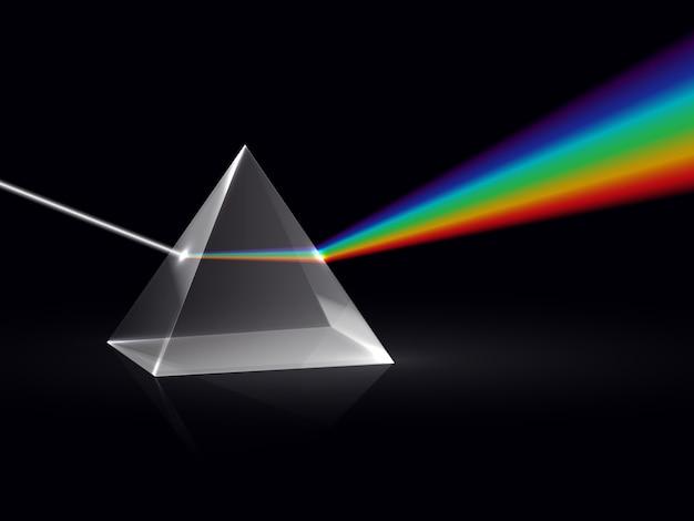 Raggi di luce nel prisma. effetto ottico di dispersione dello spettro dell'arcobaleno di raggi nel prisma di vetro. sfondo vettoriale di fisica educativa