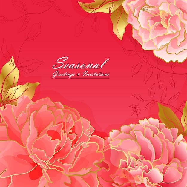 Biglietto quadrato floreale peonia rosso chiaro