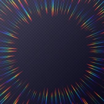 Cornice di rifrazioni di luce, sfondo con effetto luce solare arcobaleno, raggi olografici con trasparenza. texture di sovrapposizione sfocata isolata su uno sfondo trasparente.