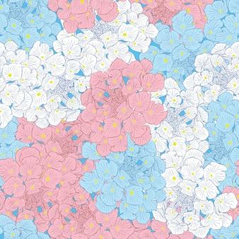 Modello senza cuciture leggero con fiori. sfondo floreale. disegnato a mano. colori blu, rosso e bianco. design per biglietto di auguri, matrimonio, compleanno, nascita di un bambino. illustrazione vettoriale.