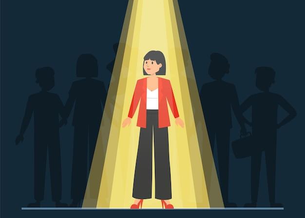 Luce che brilla sul candidato giusto per un lavoro