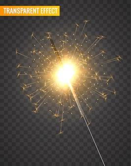 Decorazione scintillante leggera. luce intensa del bengala isolata fondo del fuoco d'artificio della stella filante di festa