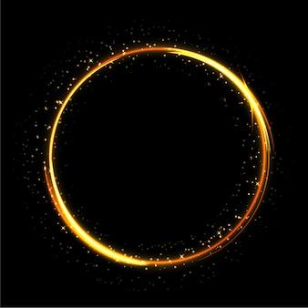 Luce scintillante cerchio su sfondo nero Vettore Premium