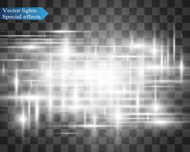 Effetto speciale leggero. strisce luminose su uno sfondo trasparente.