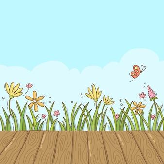 Sfondo di primavera leggera con fiori di campo
