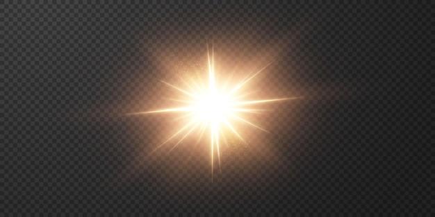 Stella chiara su sfondo nero trasparente