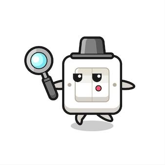 Personaggio dei cartoni animati con interruttore della luce che cerca con una lente d'ingrandimento, design in stile carino per maglietta, adesivo, elemento logo
