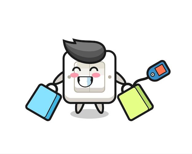Fumetto della mascotte dell'interruttore della luce che tiene una borsa della spesa, design in stile carino per maglietta, adesivo, elemento logo