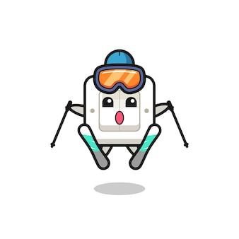 Personaggio mascotte dell'interruttore della luce come giocatore di sci, design in stile carino per maglietta, adesivo, elemento logo