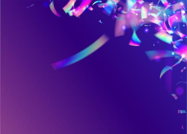 Trama leggera. decorazione astratta della discoteca. arte glamour. foglio di festa. effetto metallo viola. tinsel arcobaleno. scintille al neon. elemento brillante. texture leggera viola