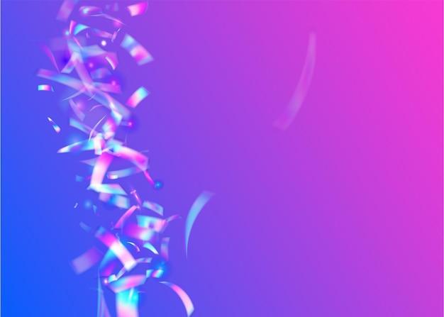 Tinsel leggero. sfocatura design. scintille di compleanno. arte di lusso. coriandoli caleidoscopio. sfondo discoteca viola. foglio di unicorno. illustrazione di natale brillante. orpelli luce blu