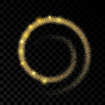 Onda di luce con effetto glitter oro su sfondo trasparente scuro. linee astratte di turbinio. illustrazione vettoriale